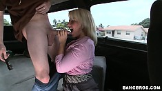 She decides to go along with it and gets fondled and then eats cock
