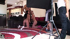 See what goes on behind the scenes as a threeway gets filmed