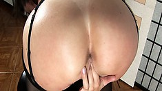 Sarah moans from her glass cock pounding her tight little pussy