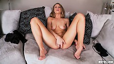 Hot blondie with yummy big ass uses fingers to stretch her pink pussy open