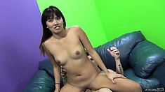 Angelica Chung fucks him then climbs on his lap and rides his cock