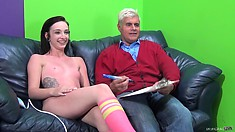 Awesome chick in half-hose is flirting with an older gentleman
