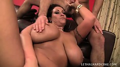 He face fucks her, she rides on top titties jiggling and sucks him again