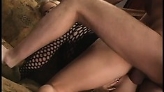 Alicia gets his hard prick shoved up her asshole and her tits squeezed