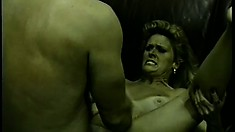 Eager MILF gets a really good pounding from a hairy beef cake