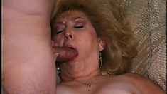 Nasty mature blonde gets her chubby cunt crammed with young cock