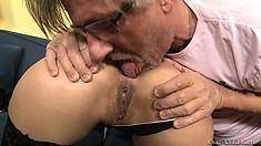 Lusty older guy shoves his fat prick deep inside a dark-haired slut's slit