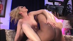 Blonde babe gets taken by a pair of two guys that get real rough