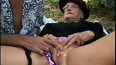 Mature widow uses fucking outside as a way to deal with her grief