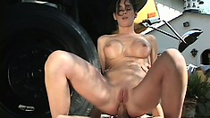 Attractive brunette with big boobs Victoria Givens wildly rides a hard dick outside