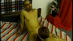 Tramp-stamped chick gets a load all over her ass after doing anal