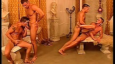 Ripped young gay stallions get into a nasty butt-drilling orgy