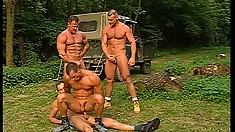 Ripped lumberjacks give deep anal and gobble down dick in a gay orgy