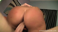 Blonde beauty Jessica shows off her wonderful body before enjoying a hard pounding