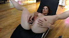 Curvy brunette babe goes through a wild anal stretching lesson