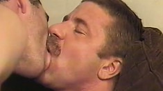 He gets caught masturbating by the fellas and they all get naked