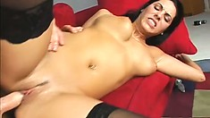 Exotic broad in stockings gets jammed balls deep in her butt