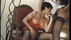 Busty beauty gets to compare a tranny's cock with a real man's tool