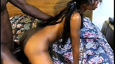 Petite black girl blows his stick before he jams it in and drills her twat