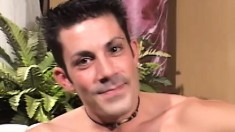 Sexy gay studs blow each other's dicks and enjoy anal sex on the couch