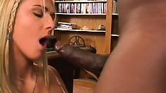 Filthy British blonde gets her wet slit smashed by a black snake