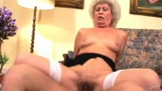 Sex addicted old lady deserves every second of this brutal banging