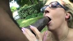 Perfect geek girl Olivia Saint suckles huge chocolate beaver-cleaver
