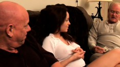 Sexy redhead Bella gets paid to take two old dicks up her cunt
