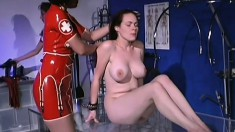 Latex doctor and nurse punish one of their patients whacking her ass