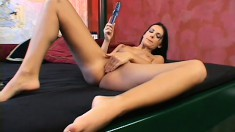 Her boyfriend has the camera rolling to catch her solo pussy pleasure