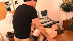 Sexy blonde secretary gets fucked by her horny boss all over the desk