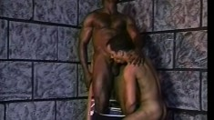 Horny ebony guy has his black friend fucking his ass from behind