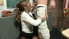 Naughty teacher Demi Delia has a well hung student fucking her pussy
