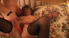 Filthy old lady in fishnets gets the big cock she'd been craving