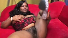 Voluptuoys ebony lady Kim Eternity welcomes a huge black dick in her hairy peach