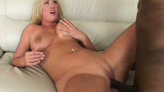 Blonde chick indulges in wild anal fucking with a black stunner
