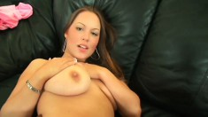 Big, saggy tit Kaylee fingers her twat before she gets a big black to fuck her