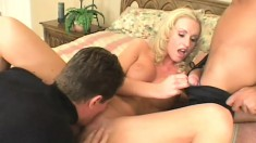 Insatiable blonde gives her tight ass up to a couple of dudes