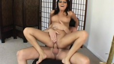 Latin slut goes from chilling in the pool to grinding on a cock