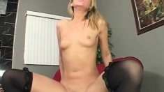 Skinny blonde tart can't wait to get her twat stuffed with black man meat