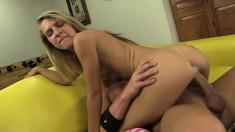 Capricious slut Kiara Knight strokes dong and licks dude's ass