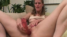 Horny milf and sweet college babe please each other with sex toys