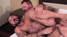 Alessio Romero and Rocco Steele fulfill their sexual needs on the bed