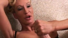 Big breasted blonde cougar offers her son's friend an awesome blowjob