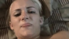 Blonde bombshell in sexy underwear gets her moist twat drilled