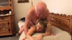Old dude gets a hottie over for some damn good fucking for a man his age