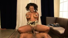 Buxom ebony hottie with a marvelous booty has a passion for dark meat