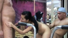 A couple of lusty studs get into a foursome with two hot girls