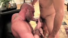 Antonio Biaggi and Chad Brock engage in bareback sex and cum together