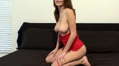 Sexy brunette Terri unleashes her big boobs and toys her wet cunny